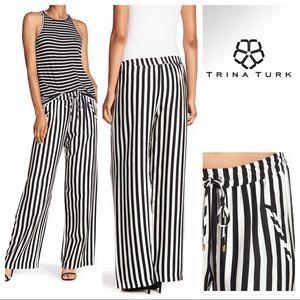 Trina Turk Adonia Black & White Striped Pants Med